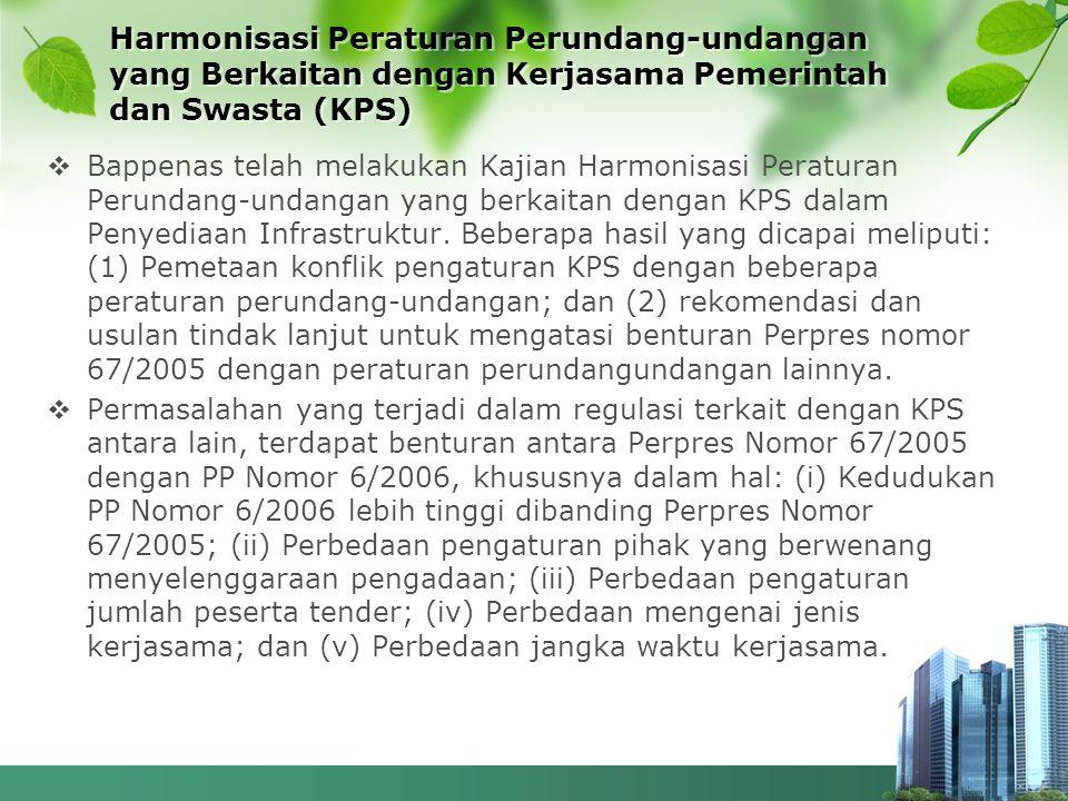 Harmonisasi Peraturan Perundang-undangan yang Berkaitan dengan Kerjasama Pemerintah dan Swasta (KPS)