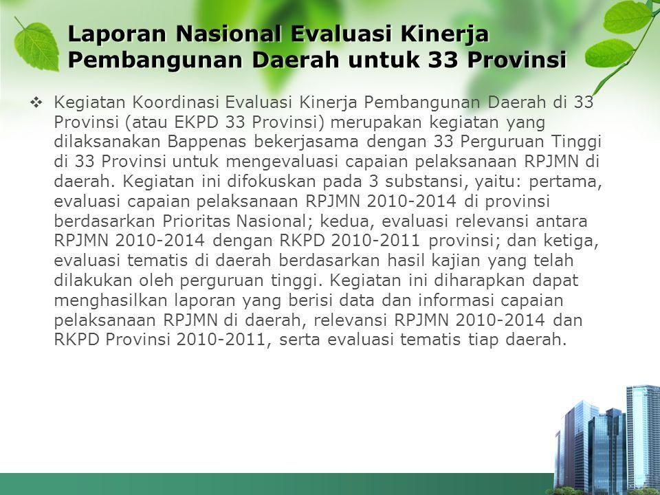 Laporan Nasional Evaluasi Kinerja Pembangunan Daerah untuk 33 Provinsi