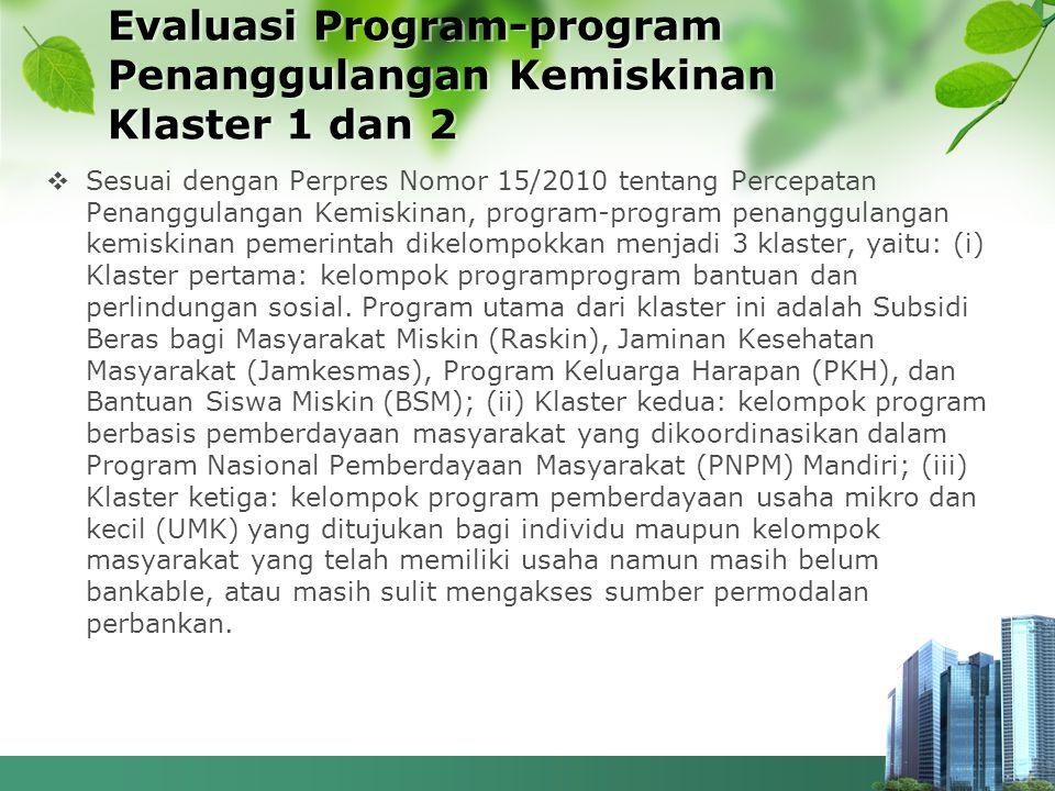 Evaluasi Program-program Penanggulangan Kemiskinan Klaster 1 dan 2