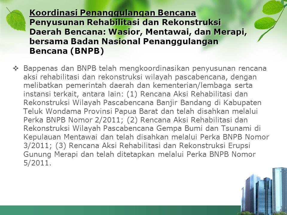Koordinasi Penanggulangan Bencana Penyusunan Rehabilitasi dan Rekonstruksi Daerah Bencana: Wasior, Mentawai, dan Merapi, bersama Badan Nasional Penanggulangan Bencana (BNPB)