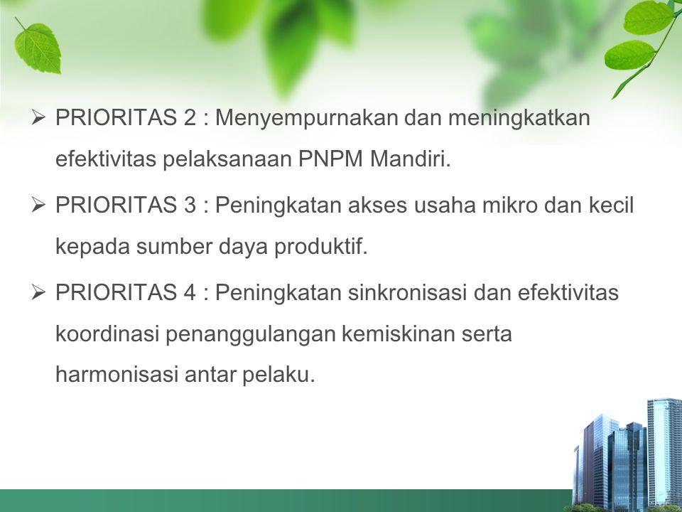 PRIORITAS 2 : Menyempurnakan dan meningkatkan efektivitas pelaksanaan PNPM Mandiri.