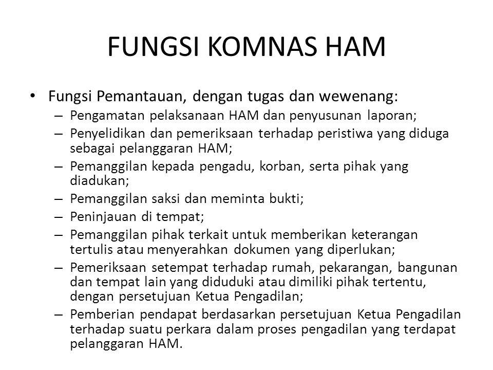 FUNGSI KOMNAS HAM Fungsi Pemantauan, dengan tugas dan wewenang: