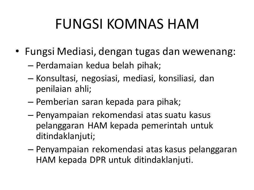FUNGSI KOMNAS HAM Fungsi Mediasi, dengan tugas dan wewenang:
