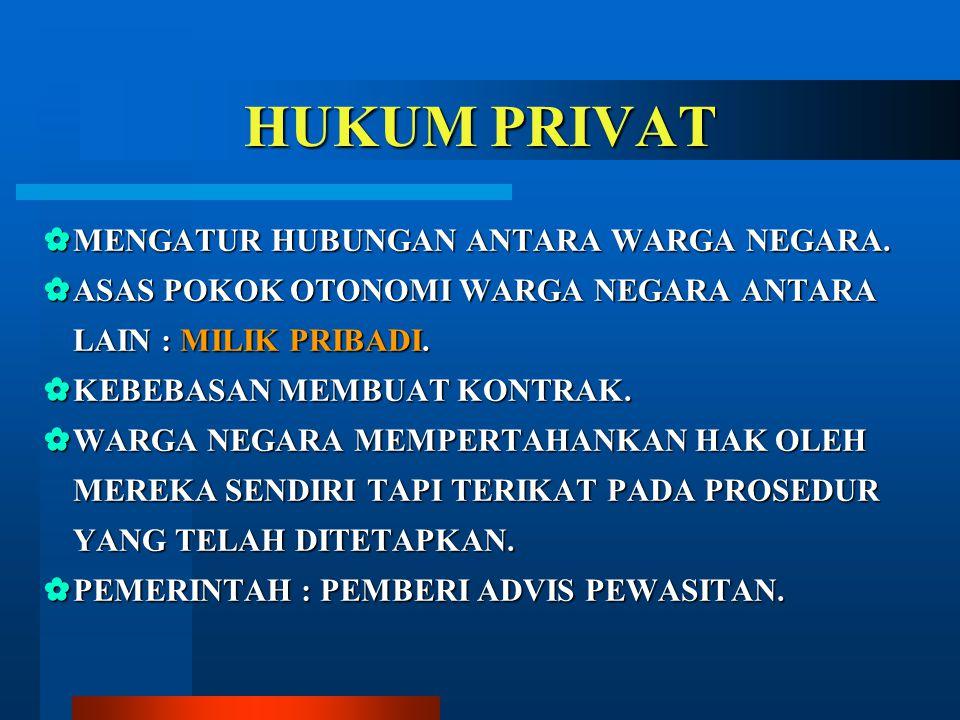 HUKUM PRIVAT MENGATUR HUBUNGAN ANTARA WARGA NEGARA.