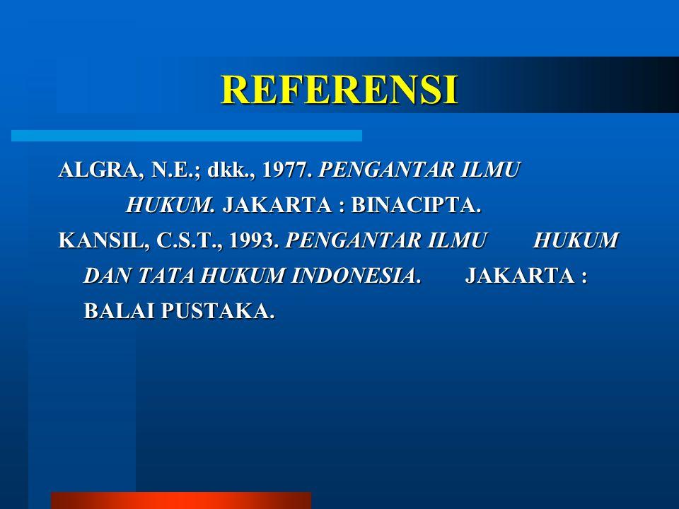 REFERENSI ALGRA, N.E.; dkk., 1977. PENGANTAR ILMU HUKUM. JAKARTA : BINACIPTA.