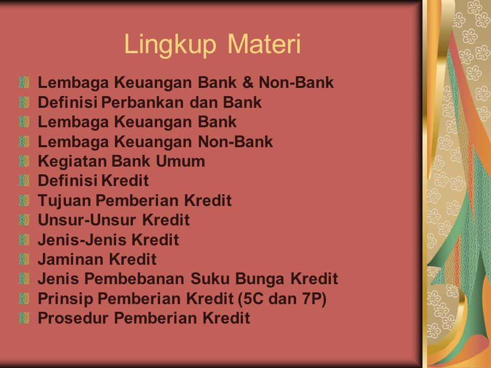 Lingkup Materi Lembaga Keuangan Bank & Non-Bank