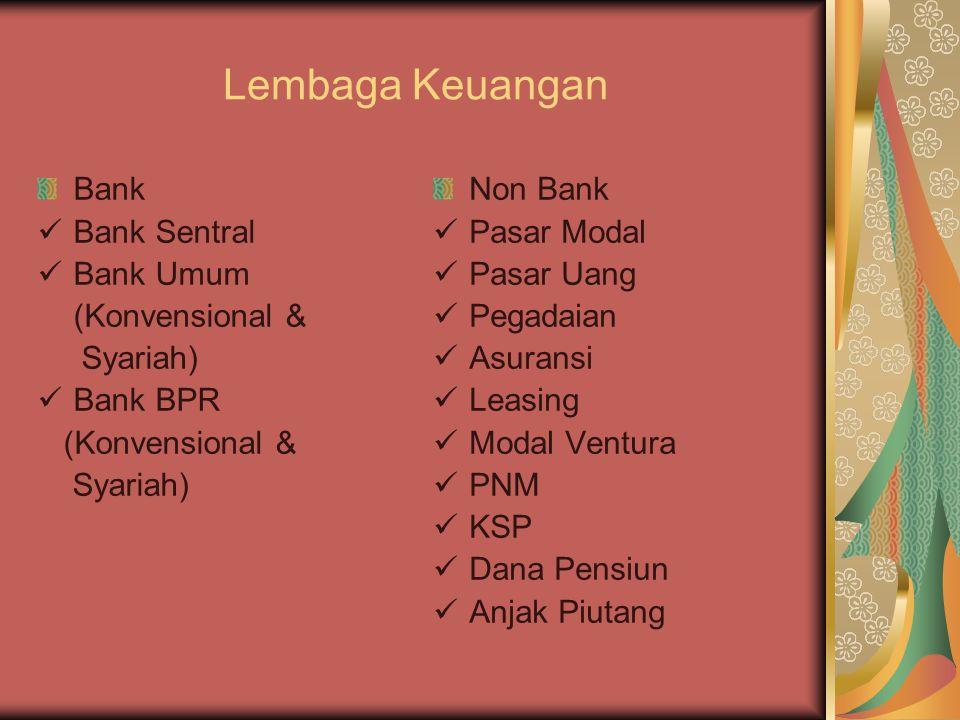 Lembaga Keuangan Bank Bank Sentral Bank Umum (Konvensional & Syariah)