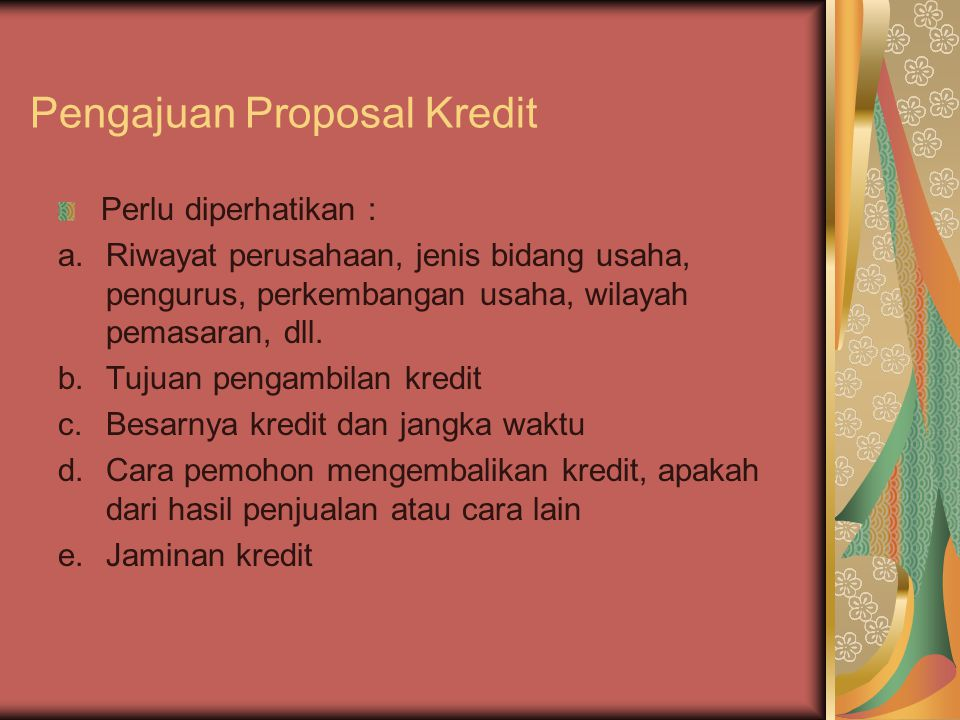 Pengajuan Proposal Kredit
