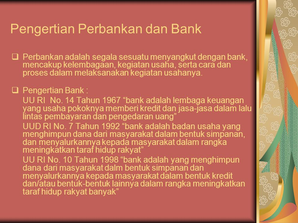 Pengertian Perbankan dan Bank