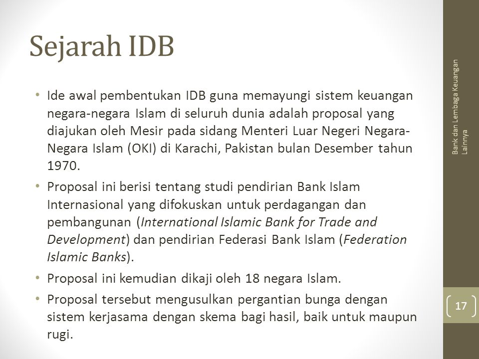 Sejarah IDB