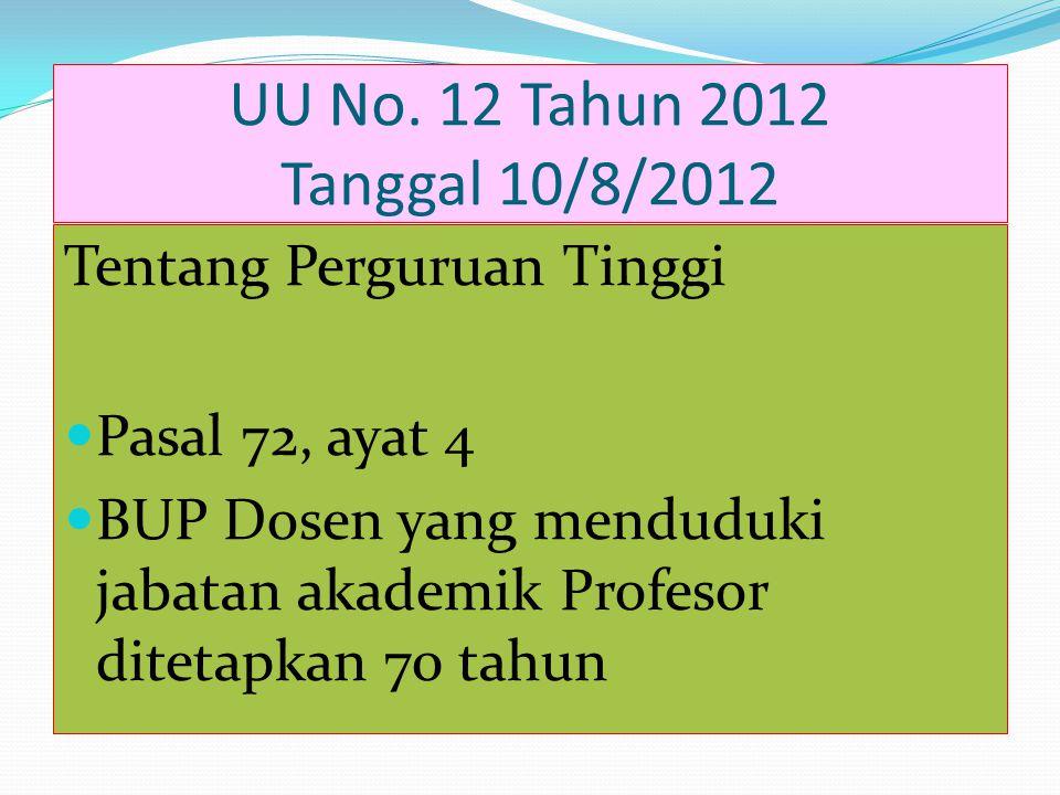 UU No. 12 Tahun 2012 Tanggal 10/8/2012 Tentang Perguruan Tinggi