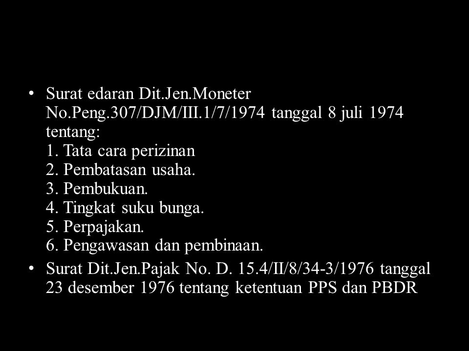 Surat edaran Dit. Jen. Moneter No. Peng. 307/DJM/III