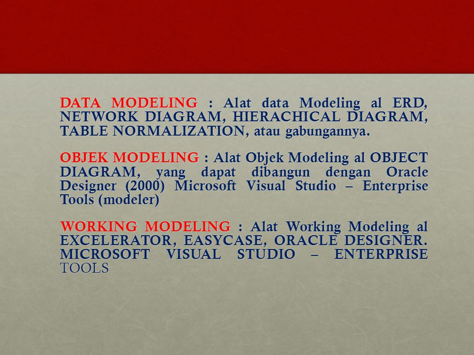DATA MODELING : Alat data Modeling al ERD, NETWORK DIAGRAM, HIERACHICAL DIAGRAM, TABLE NORMALIZATION, atau gabungannya.