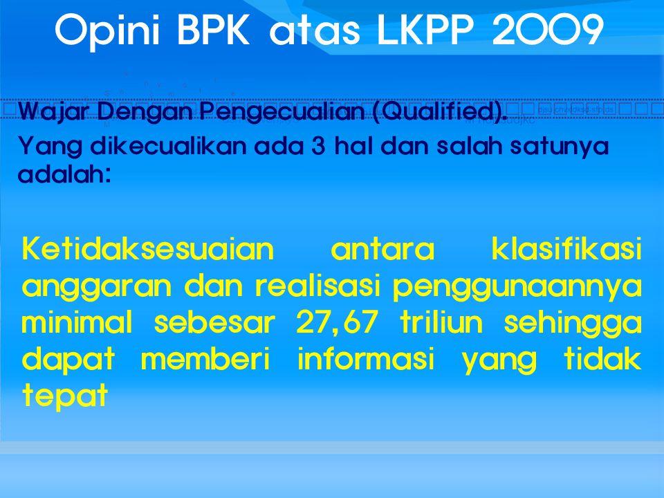 Opini BPK atas LKPP 2009 Wajar Dengan Pengecualian (Qualified). Yang dikecualikan ada 3 hal dan salah satunya adalah: