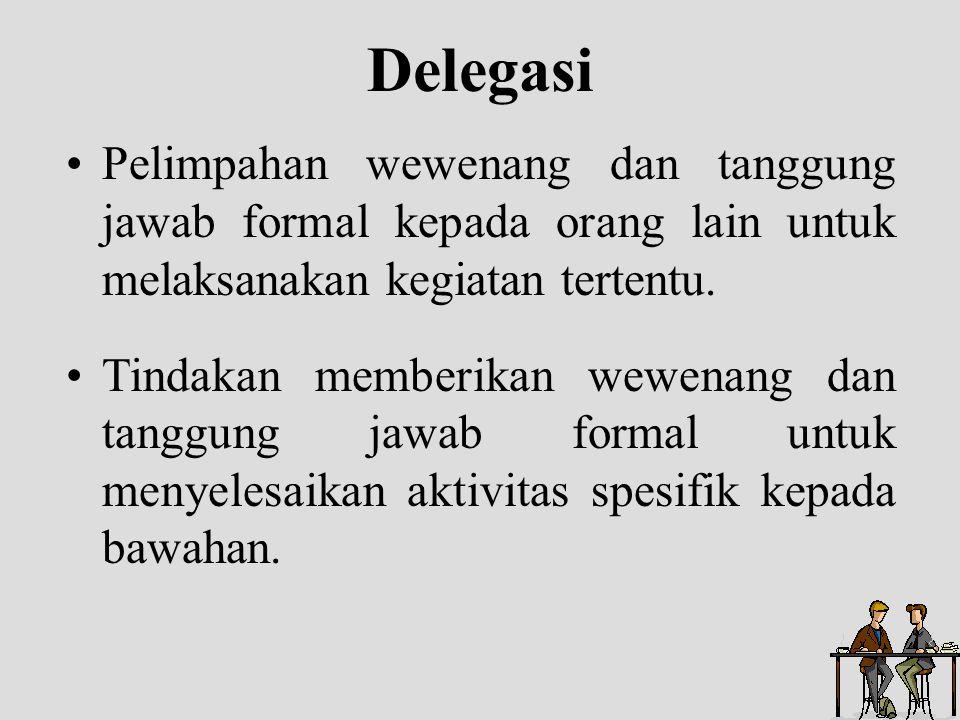 Delegasi Pelimpahan wewenang dan tanggung jawab formal kepada orang lain untuk melaksanakan kegiatan tertentu.