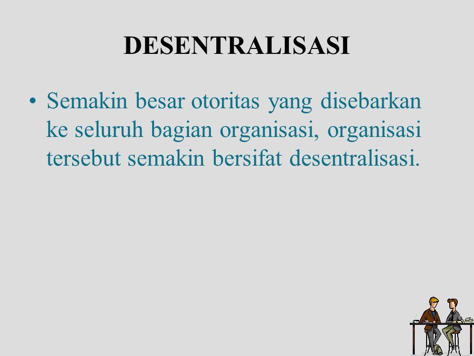 DESENTRALISASI Semakin besar otoritas yang disebarkan ke seluruh bagian organisasi, organisasi tersebut semakin bersifat desentralisasi.