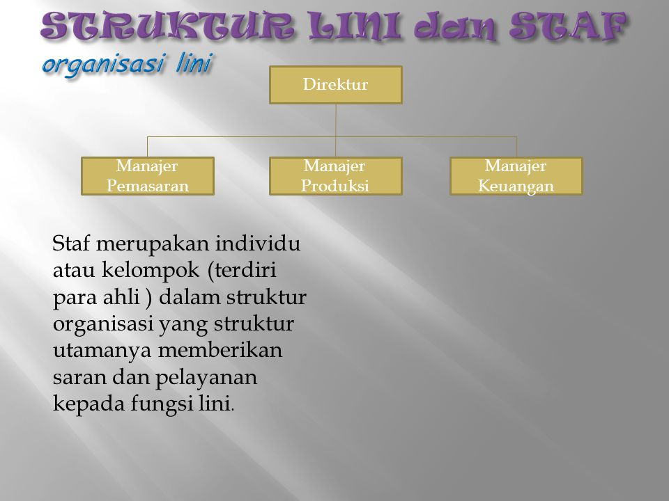 STRUKTUR LINI dan STAF organisasi lini
