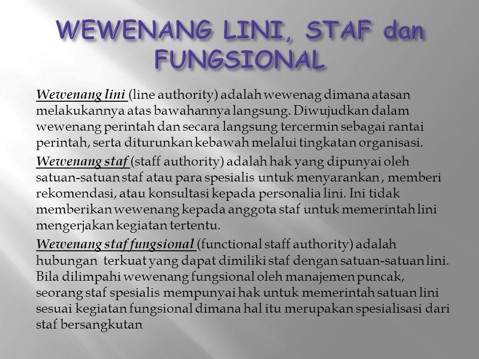 WEWENANG LINI, STAF dan FUNGSIONAL