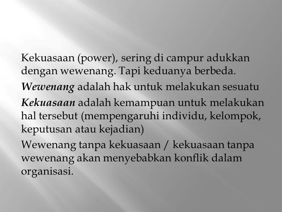Kekuasaan (power), sering di campur adukkan dengan wewenang