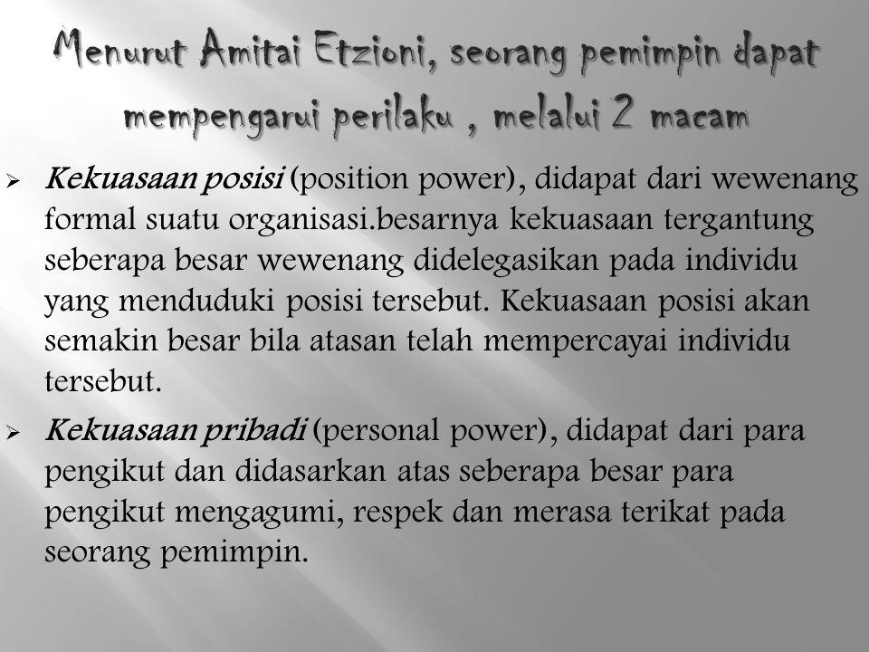 Menurut Amitai Etzioni, seorang pemimpin dapat mempengarui perilaku , melalui 2 macam
