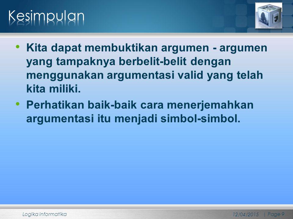 Kesimpulan Kita dapat membuktikan argumen - argumen yang tampaknya berbelit-belit dengan menggunakan argumentasi valid yang telah kita miliki.