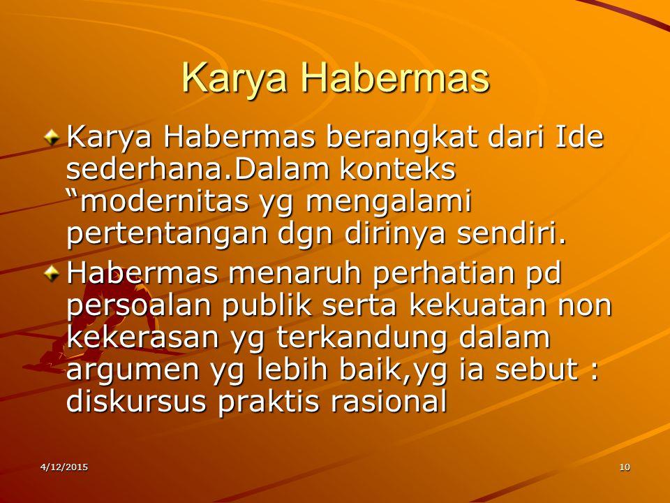 Karya Habermas Karya Habermas berangkat dari Ide sederhana.Dalam konteks modernitas yg mengalami pertentangan dgn dirinya sendiri.