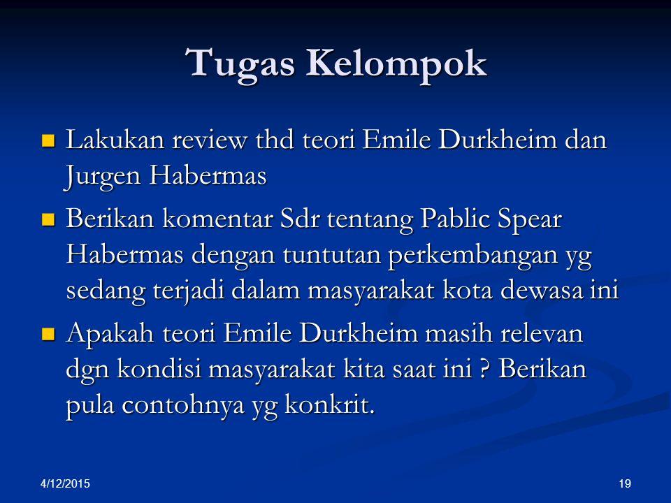 Tugas Kelompok Lakukan review thd teori Emile Durkheim dan Jurgen Habermas.