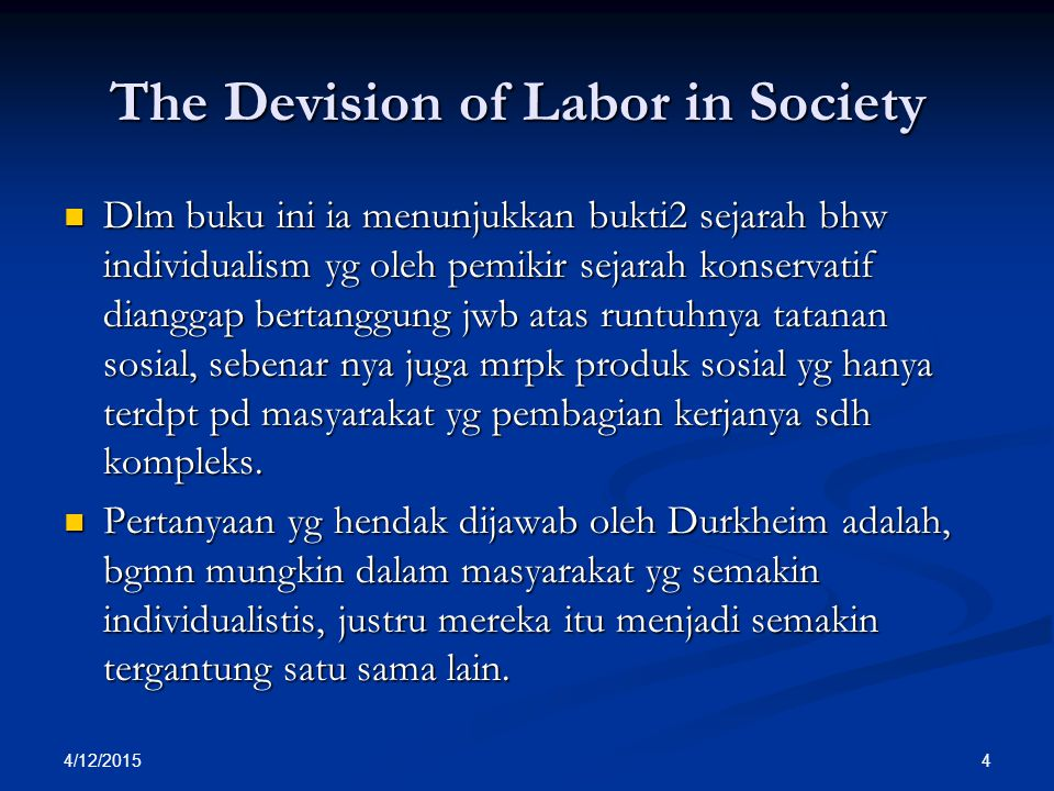 The Devision of Labor in Society