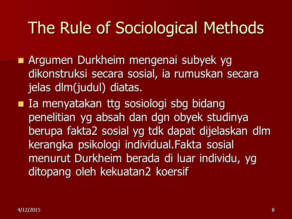 The Rule of Sociological Methods