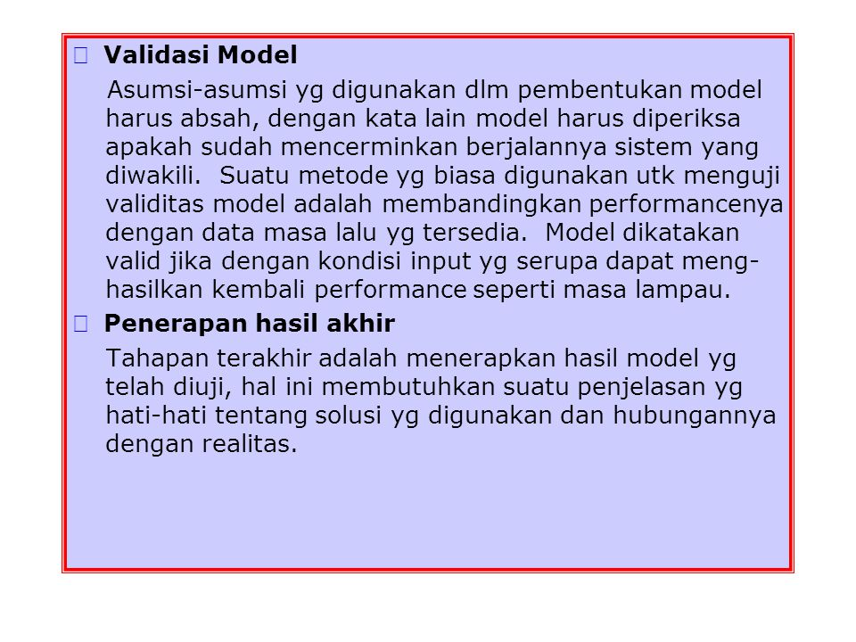  Validasi Model