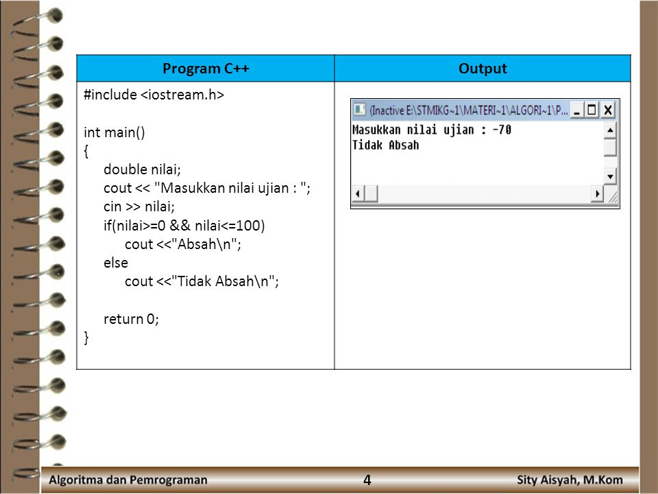Program C++ Output 4 #include <iostream.h> int main() {