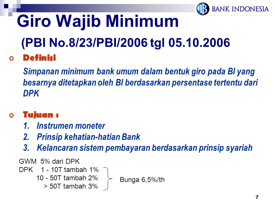 Giro Wajib Minimum (PBI No.8/23/PBI/2006 tgl 05.10.2006