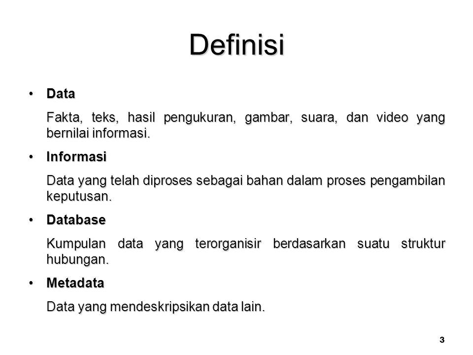 Definisi Data. Fakta, teks, hasil pengukuran, gambar, suara, dan video yang bernilai informasi. Informasi.