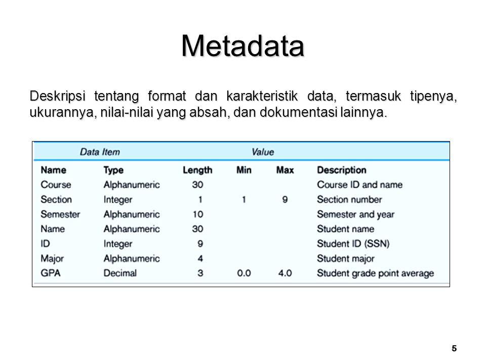 Metadata Deskripsi tentang format dan karakteristik data, termasuk tipenya, ukurannya, nilai-nilai yang absah, dan dokumentasi lainnya.