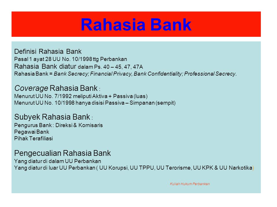 Rahasia Bank Coverage Rahasia Bank : Subyek Rahasia Bank :
