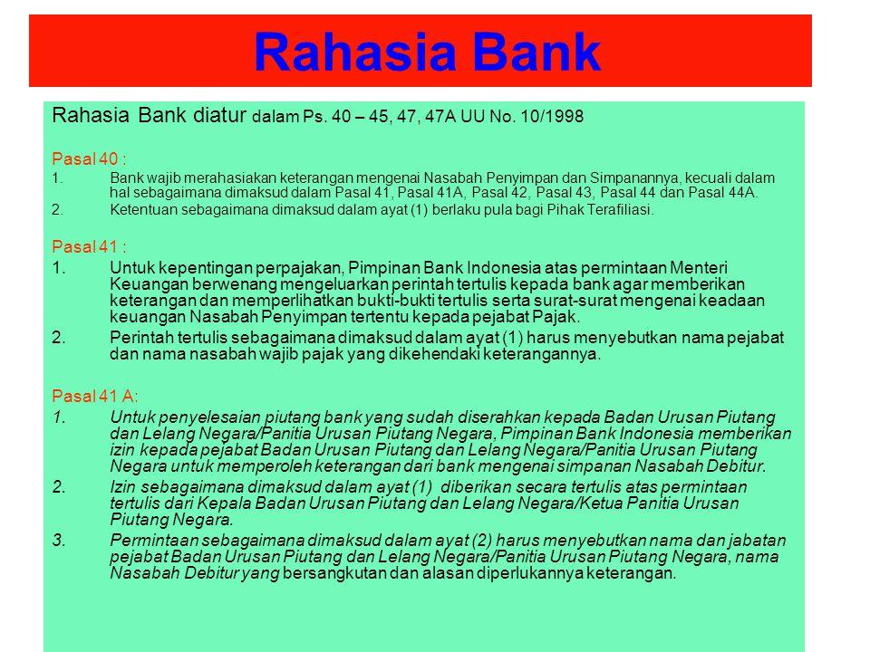 Rahasia Bank Rahasia Bank diatur dalam Ps. 40 – 45, 47, 47A UU No. 10/1998. Pasal 40 :