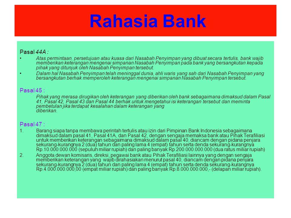 Rahasia Bank Pasal 44A : Pasal 45 : Pasal 47 :