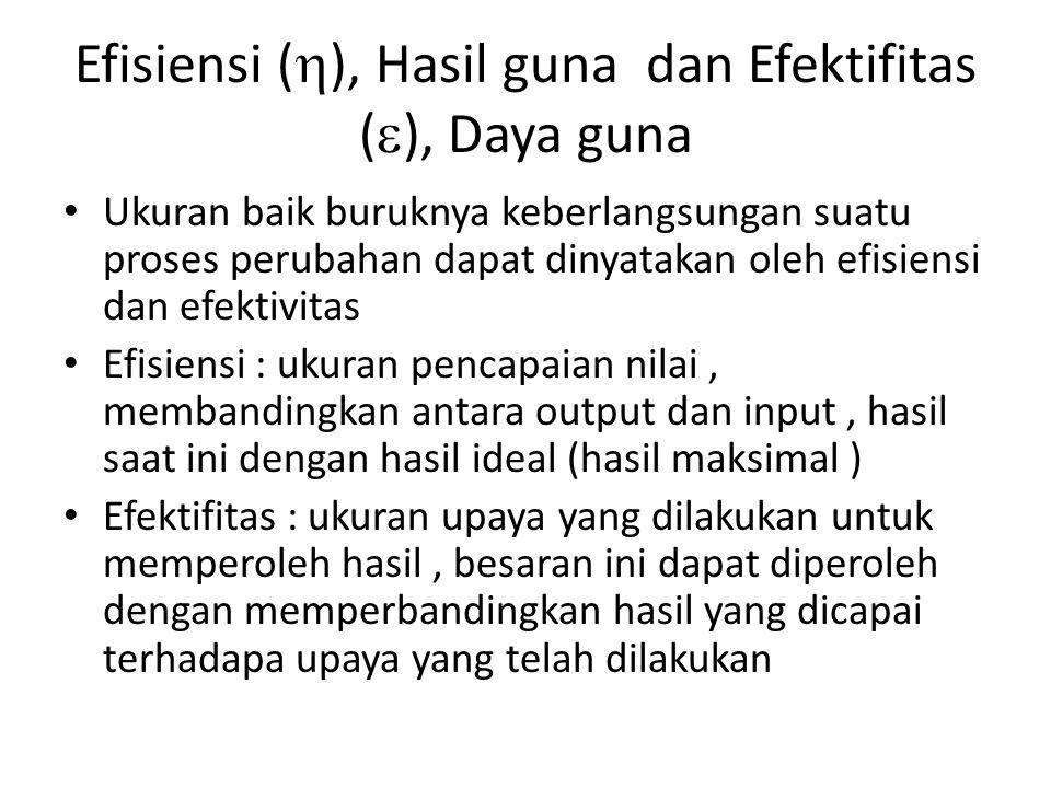 Efisiensi (), Hasil guna dan Efektifitas (), Daya guna