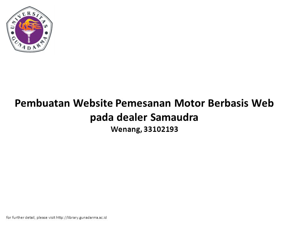 Pembuatan Website Pemesanan Motor Berbasis Web pada dealer Samaudra Wenang, 33102193
