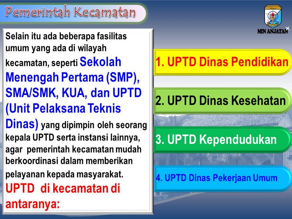UPTD di kecamatan di antaranya: 1. UPTD Dinas Pendidikan