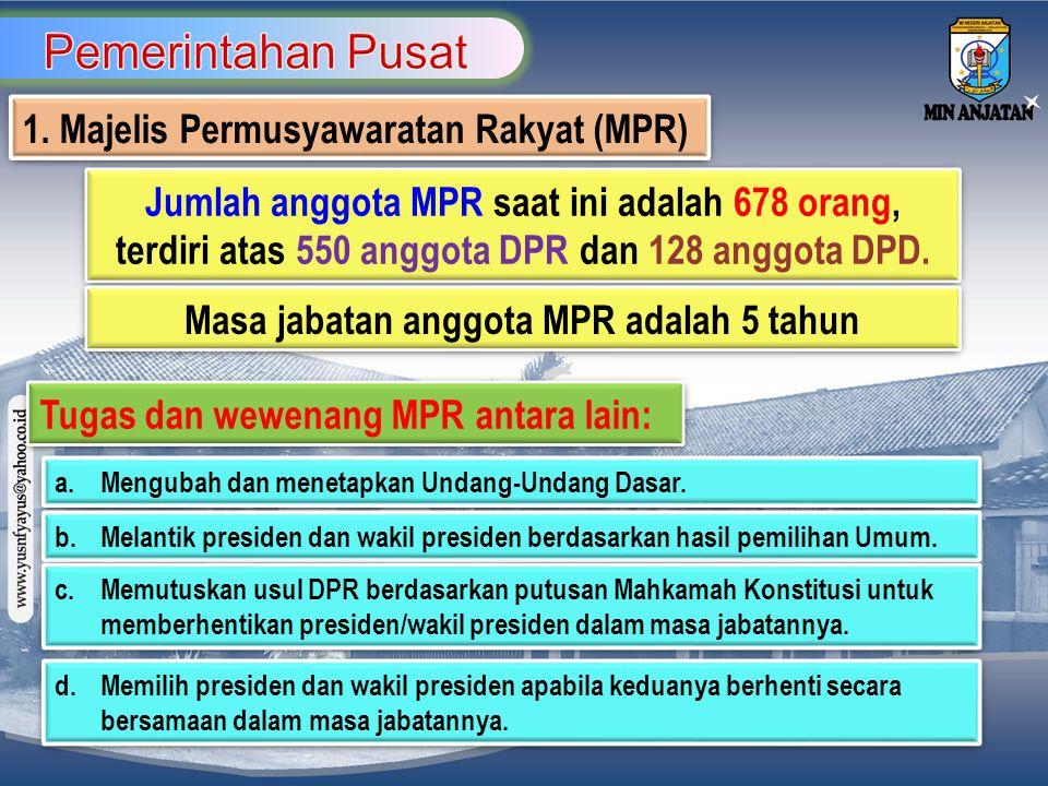 Masa jabatan anggota MPR adalah 5 tahun