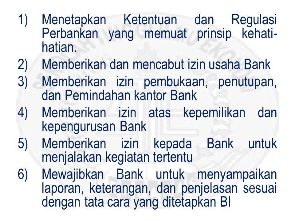 Menetapkan Ketentuan dan Regulasi Perbankan yang memuat prinsip kehati-hatian.