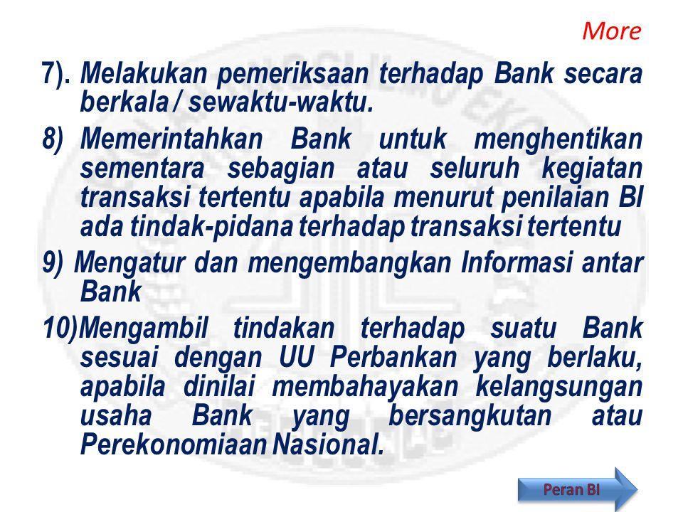 9) Mengatur dan mengembangkan Informasi antar Bank