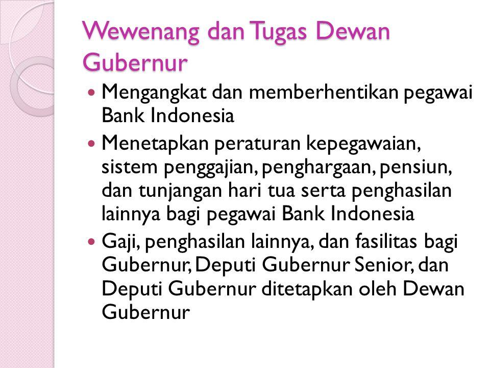 Wewenang dan Tugas Dewan Gubernur