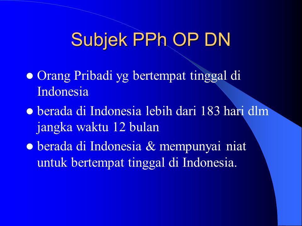 Subjek PPh OP DN Orang Pribadi yg bertempat tinggal di Indonesia
