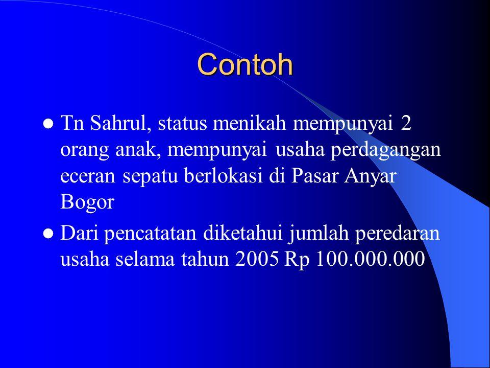 Contoh Tn Sahrul, status menikah mempunyai 2 orang anak, mempunyai usaha perdagangan eceran sepatu berlokasi di Pasar Anyar Bogor.