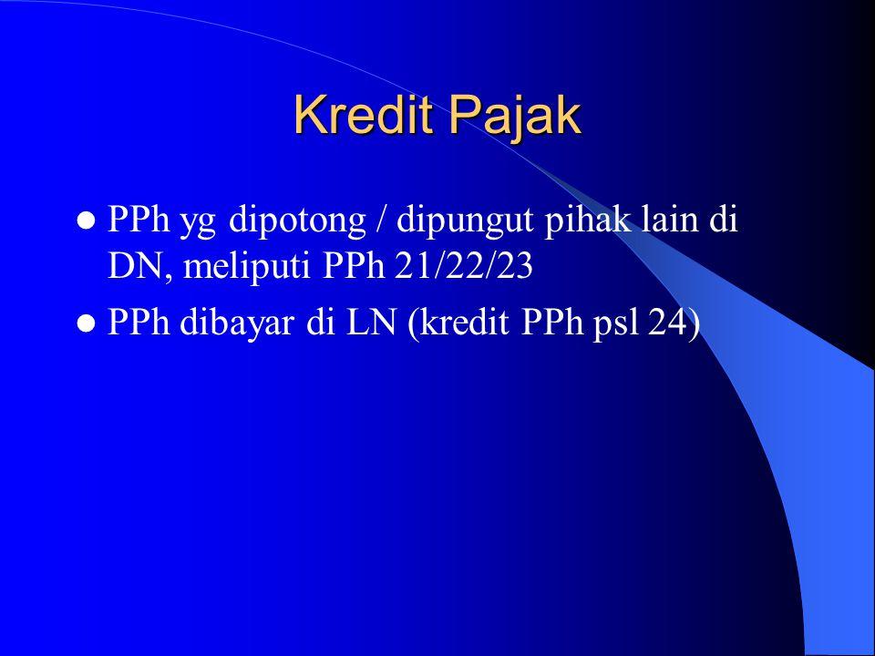 Kredit Pajak PPh yg dipotong / dipungut pihak lain di DN, meliputi PPh 21/22/23.