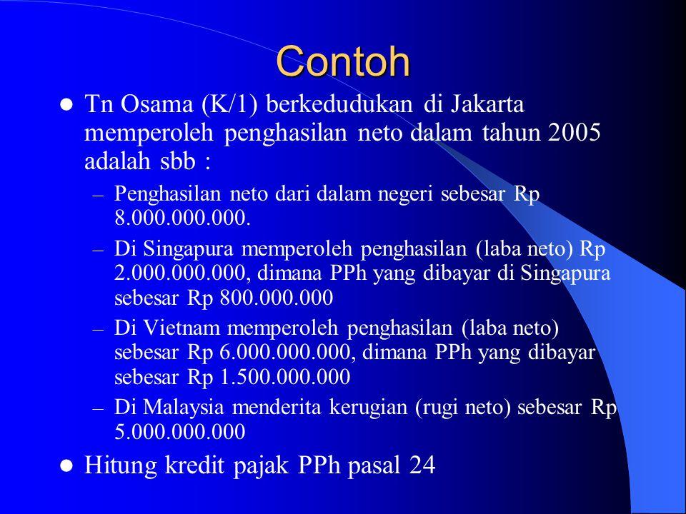 Contoh Tn Osama (K/1) berkedudukan di Jakarta memperoleh penghasilan neto dalam tahun 2005 adalah sbb :