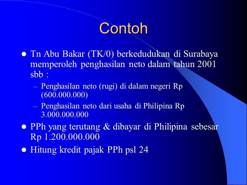 Contoh Tn Abu Bakar (TK/0) berkedudukan di Surabaya memperoleh penghasilan neto dalam tahun 2001 sbb :