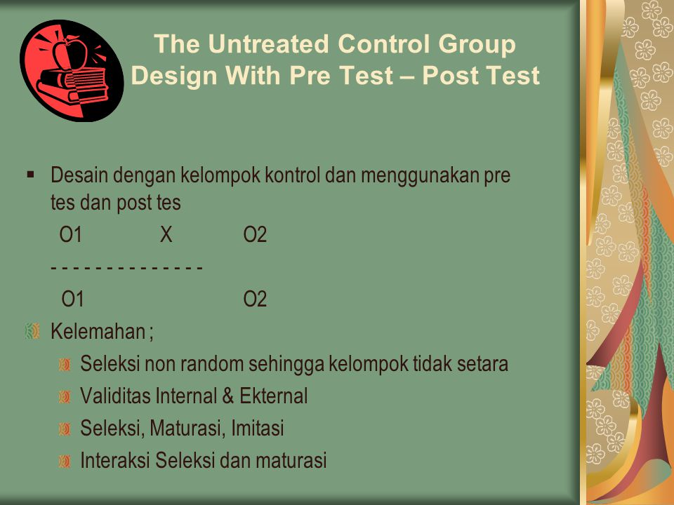 The Untreated Control Group Design With Pre Test – Post Test